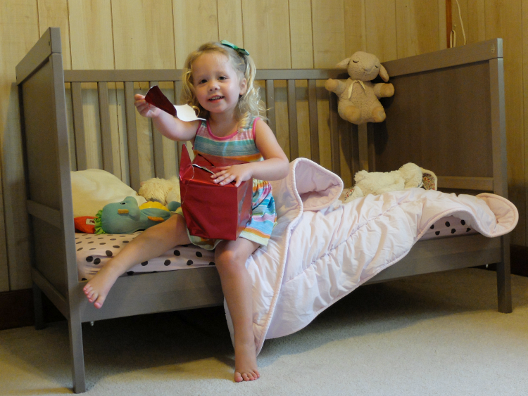 toddler bed, big girl bed, SUNDVIK crib, ikea crib, toddler bed transition, ok to wake clock