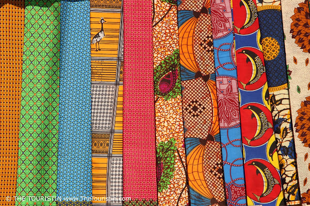 Colourful fabric on a market in Kasane in Botswana.