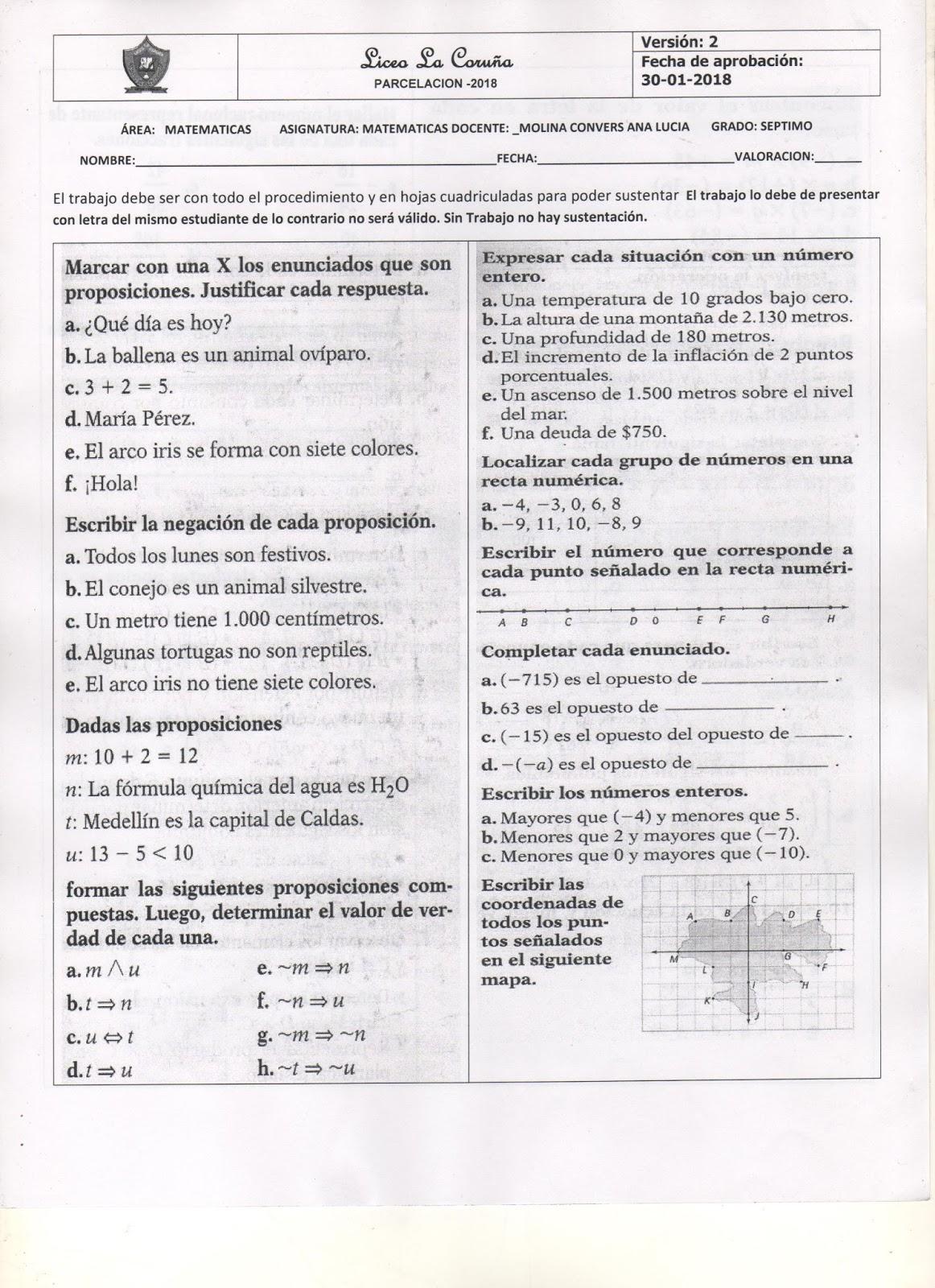 Bonito Matemáticas 7º Grado Hojas De Trabajo Enteros Bandera ...