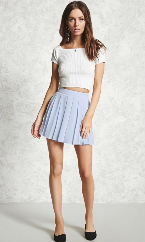 Pleated Chiffon Mini Skirt