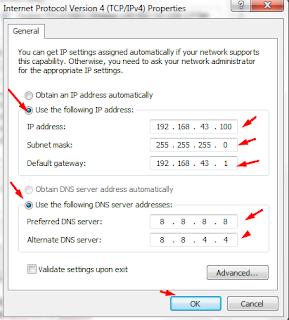 isi alamat ip konmputer anda yang sama dengan jaringan yang digunakan