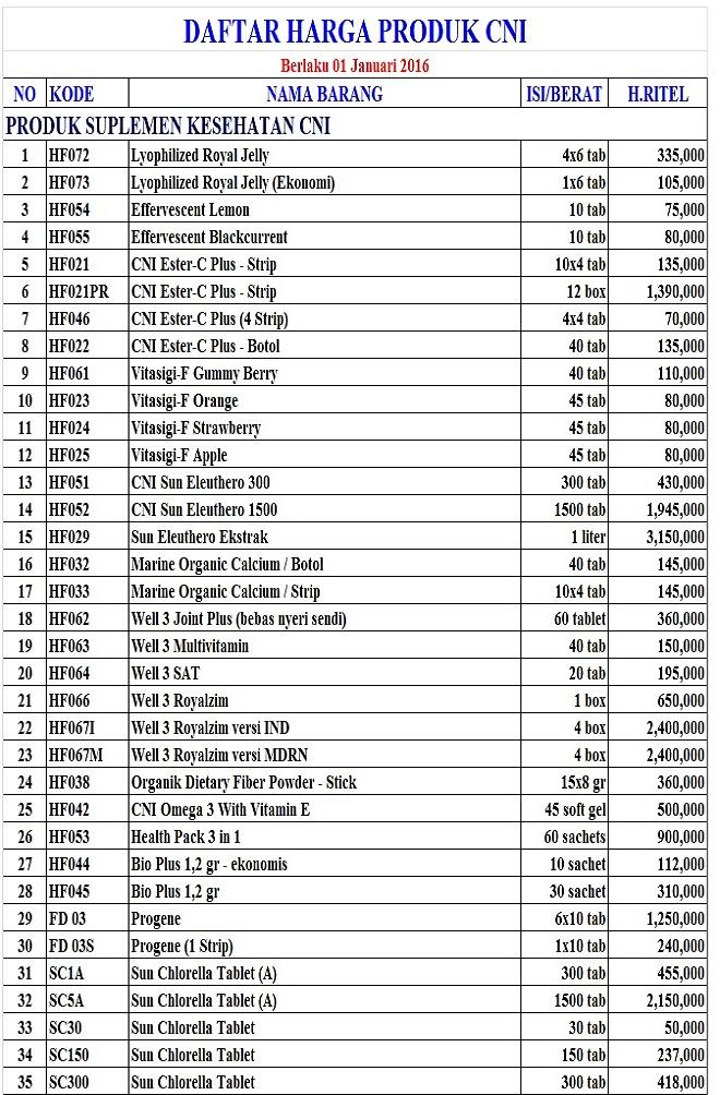 warung cni mbak katri daftar harga produk cni