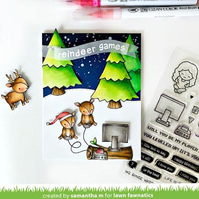 Reindeer Games Card by Samantha Mann, Lawn Fawn, Lawn Fawnatics, Christmas, Cards, reindeer, distress inks, handmade cards, paper #lawnfawn #lawnfawnatics #reindeer #christmas