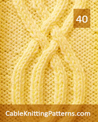 Cable Panel 40. Knit with 22 stitches and 26-row repeat. Techniques used: 2/2 right cross, 2/2 left cross, 2/1 right purl cross, 2/1 left purl cross.