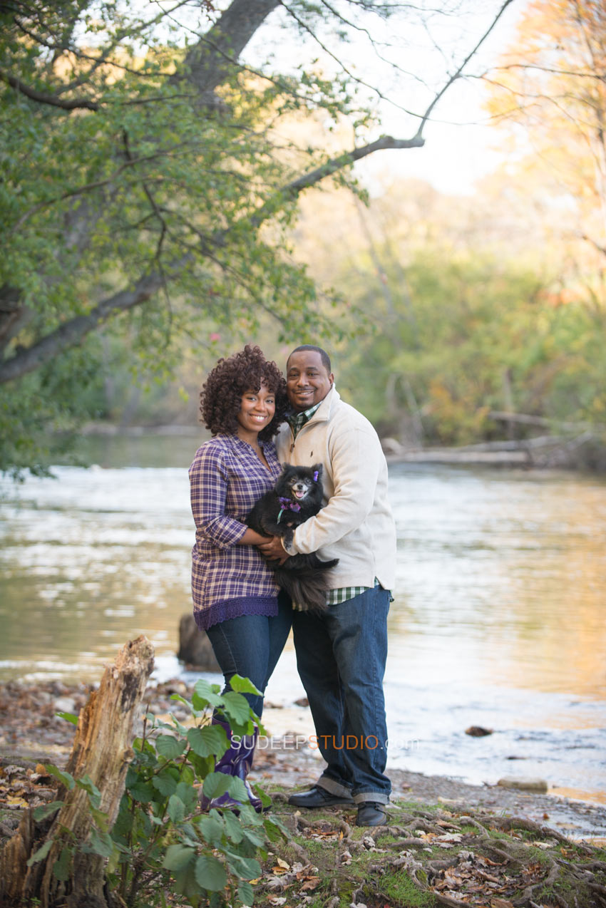 Nichols Arboretum Fall Engagement Photography Session with Dog - Sudeep Studio.com Ann Arbor Photographer