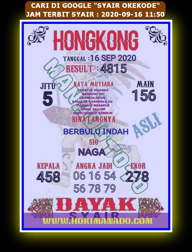 Kode syair Hongkong Rabu 16 September 2020 126
