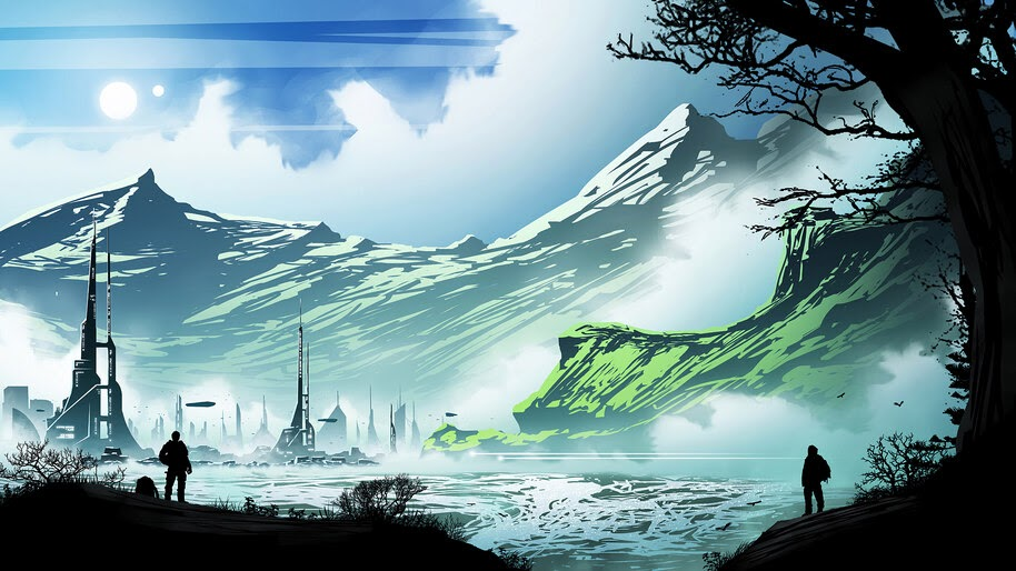 Mountains, Scenery, Sci-Fi, Digital Art, Minimalist, 4K, #4.1023