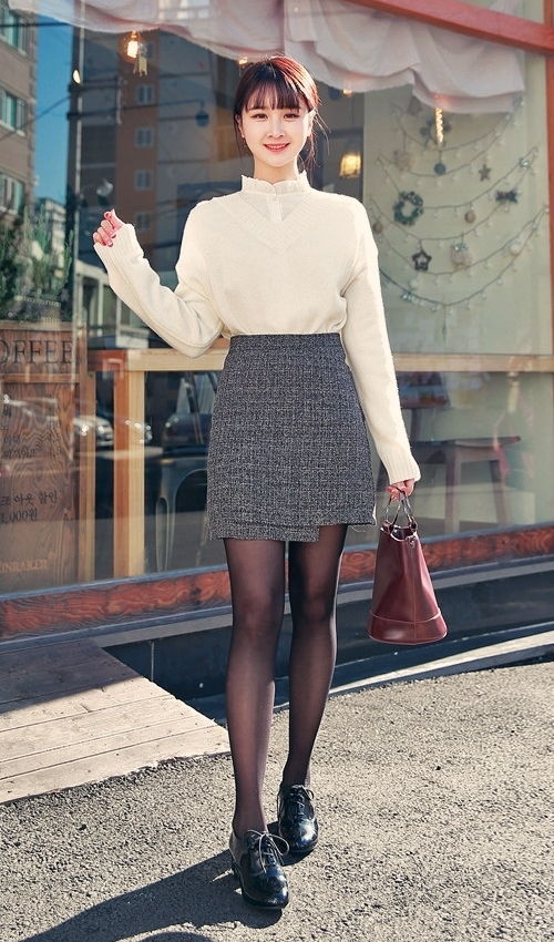 Unsymmetrical Hem High Rise H-Line Skirt