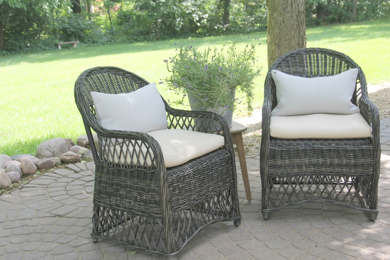 Gorgeous wicker Davies (Decor Market) chairs on patio - Hello Lovely Studio