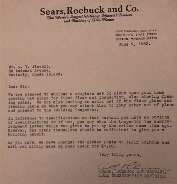 buying a house from Sears--letters from Sears