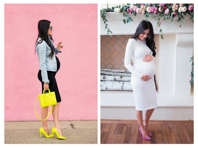 Беременная женщина в облегающем платье