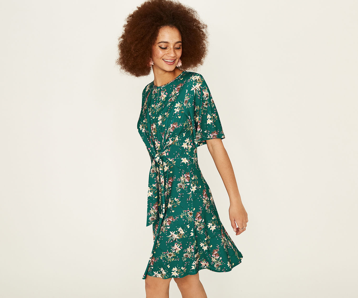 Oasis Multi Green Kelsey Tie Front Dress - UK style blog