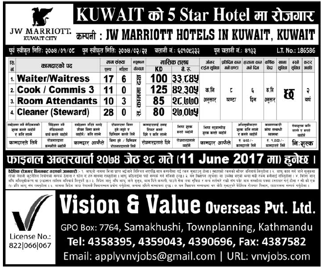 Jobs in Kuwait for Nepali, Salary Rs 42,305