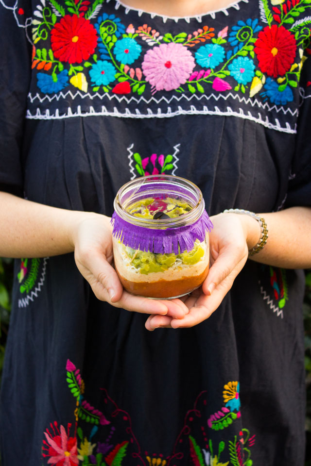 Fun Cinco de Mayo recipe idea - individual 7 layer dips in mason jars!