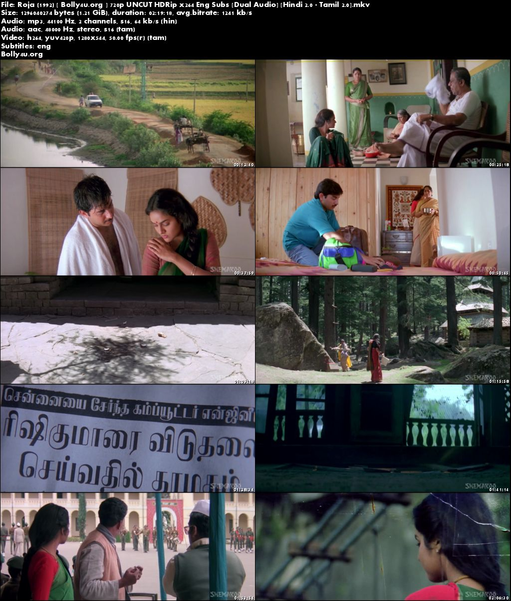 Roja 1992 HDRip UNCUT Hindi Dubbed Dual Audio 720p ESub Download