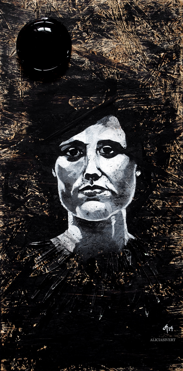 aliciasivert, alicia sivert, alicia sivertsson, målning, akryl, acrylic paint, acrylics, portrait, porträtt, woman, colours, painting, black and white, svartvit, kvinna, ansikte, ögon, närbild, detalj, återbruk, remake, spånskiva, glas, glaskross, glassplitter, glass, flaskbotten
