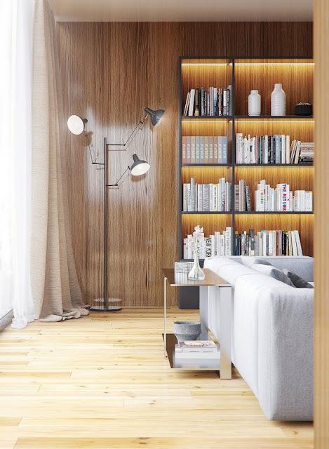интерьер с деревянными красивыми панелями