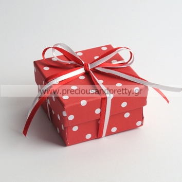 Cute baptism favors for girls red polka dots boxes B37