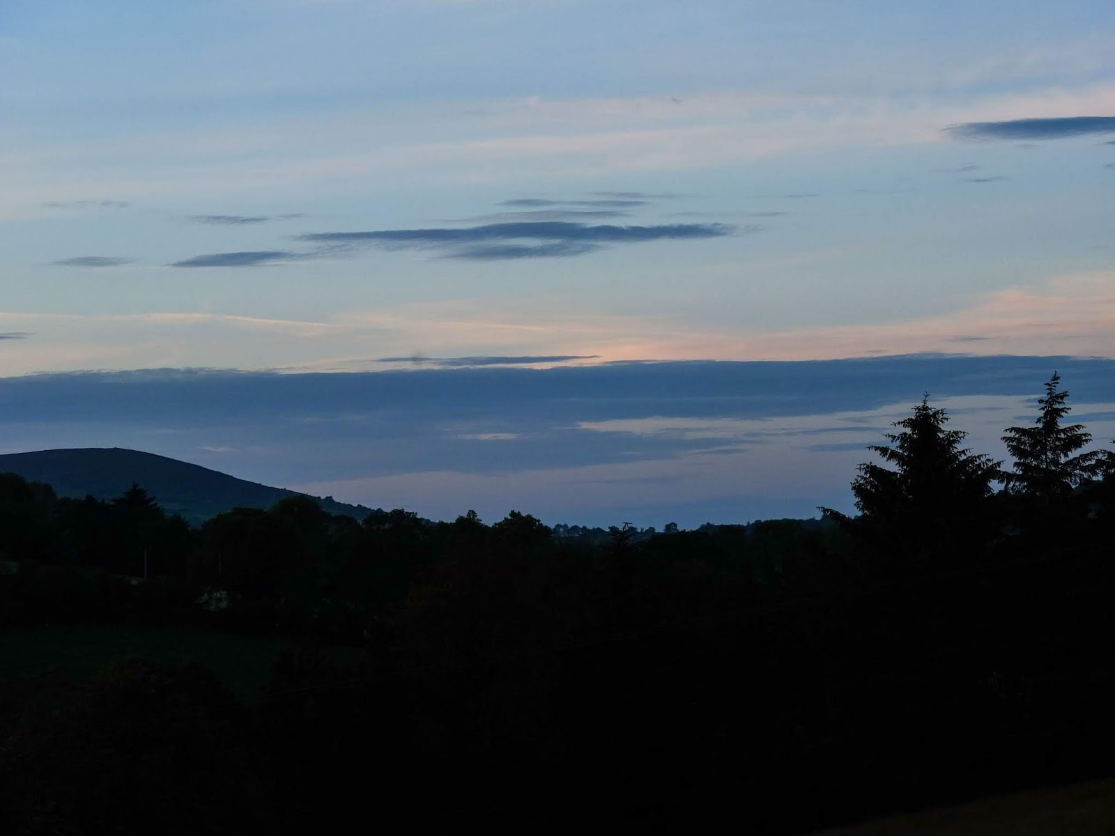 Mount Hilary in the Boggeragh Mountains at dusk.