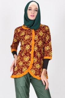 Ide baju atasan muslim batik keren