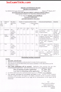 Delhi Contonment board safaiwala notification
