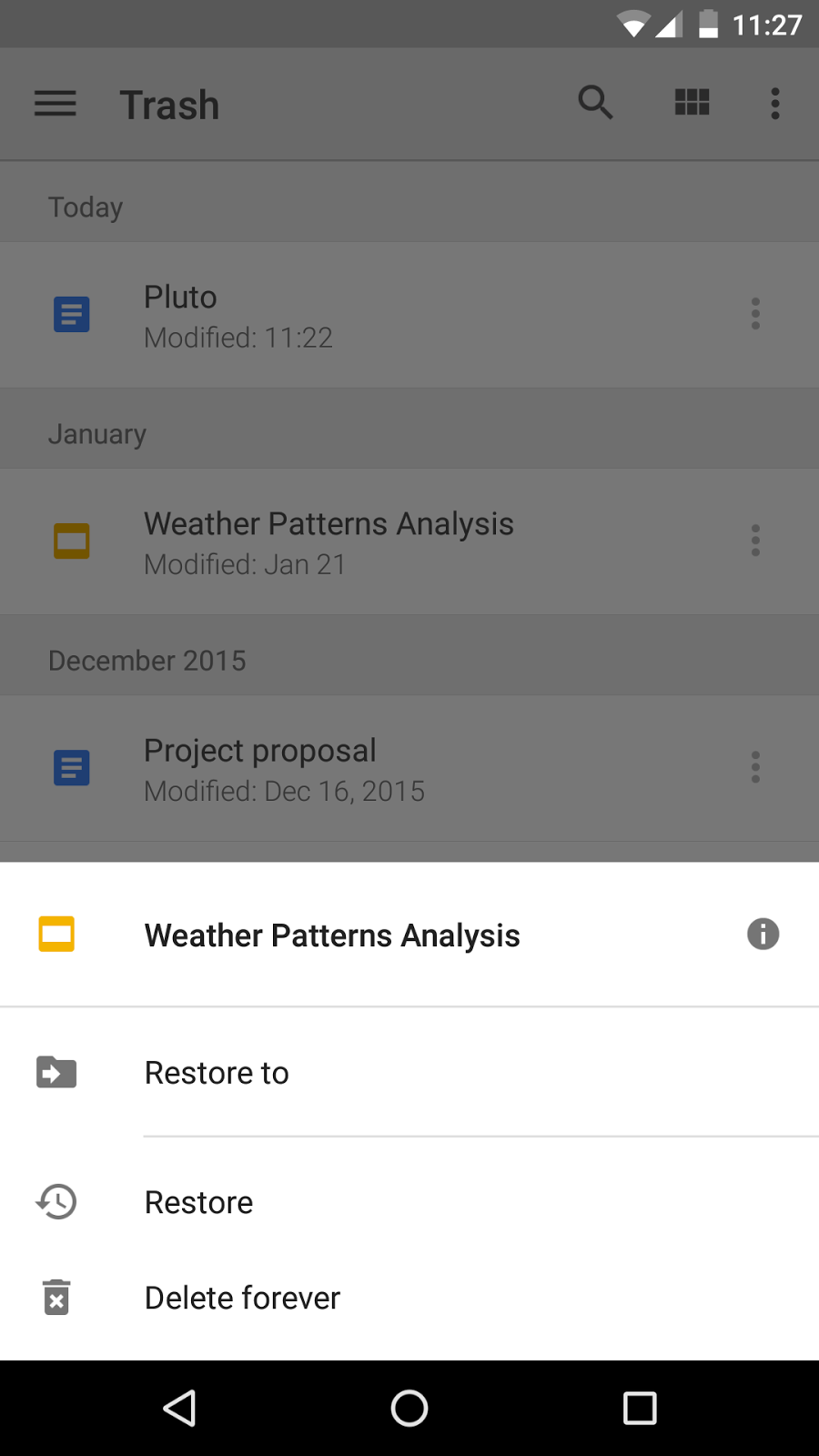 how to delete from trash on android