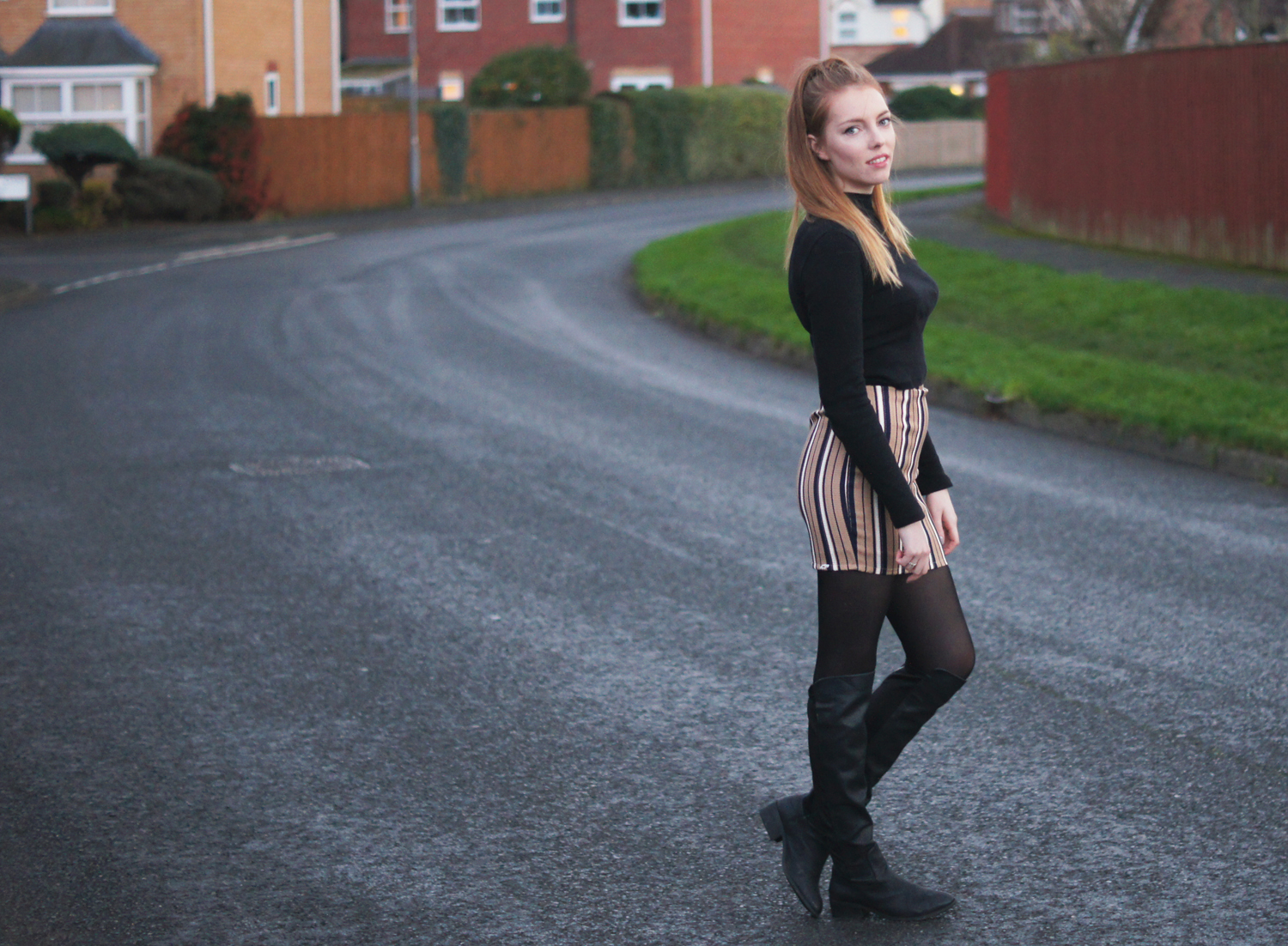 missguided camel skirt with over the knee boots