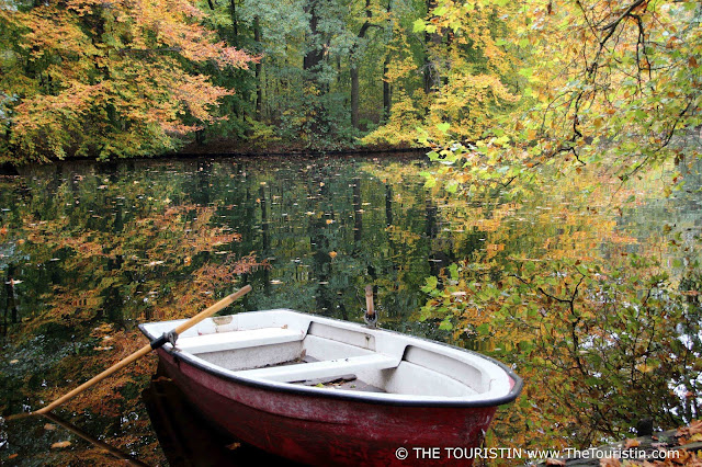 Red boat and oar on lake shore; colourful autumn foliage; scene reflected in the lake.