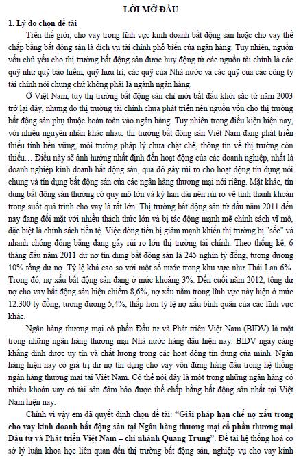 Giải pháp hạn chế nợ xấu trong cho vay kinh doanh bất động sản tại Ngân hàng Thương mại Cổ phần Đầu tư và Phát triển Việt Nam Chi nhánh Quang Trung