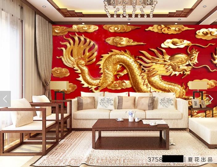 Tranh dán tường 3d rồng vàng dập nổi