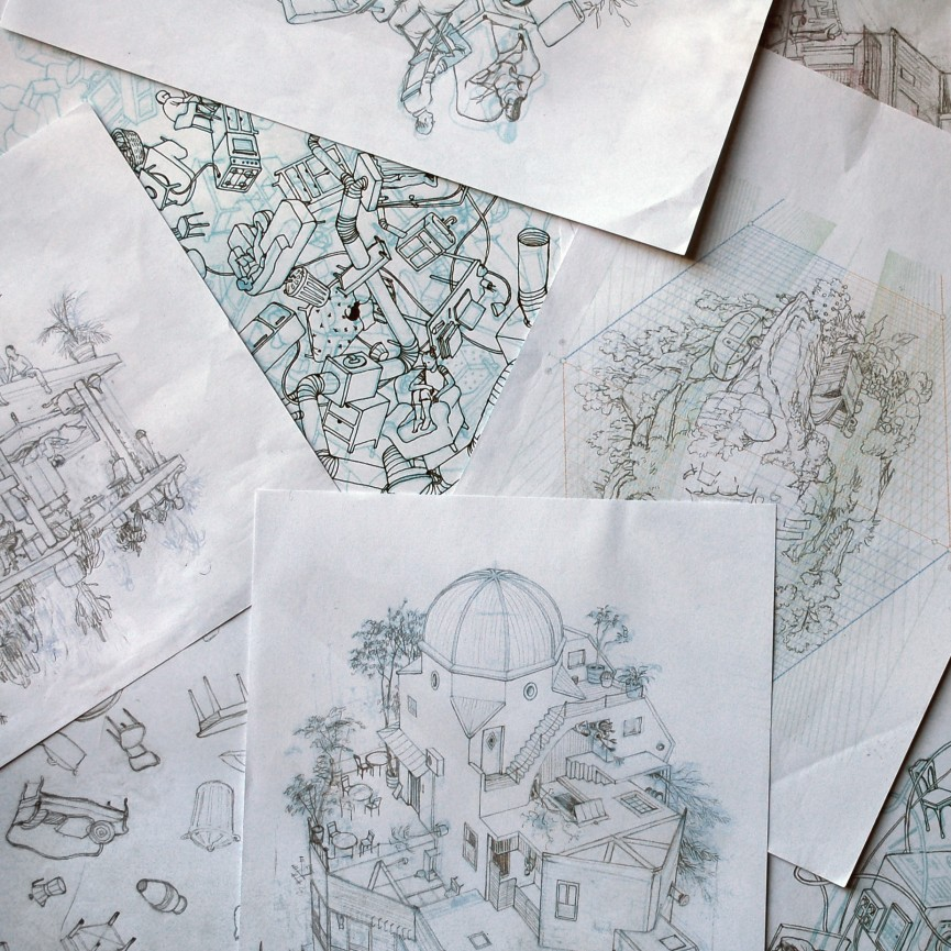 03-Sketches-Cinta Vidal Agulló-Multi-directional-Surreal-Architecture-Drawings-and-Paintings-www-designstack-co