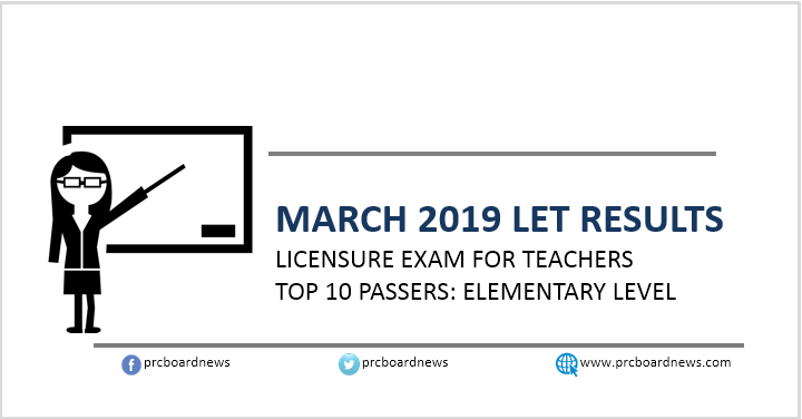 Top 10 Passers: March 2019 LET Elementary Teachers board exam result