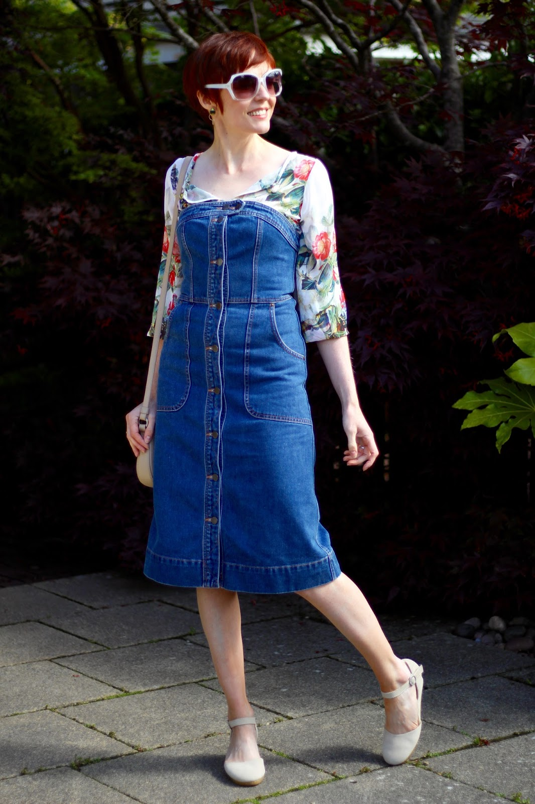 Whistles Denim Bustier Dress, Chiffon Floral Blouse, Clarks Original Wedges | Fake Fabulous