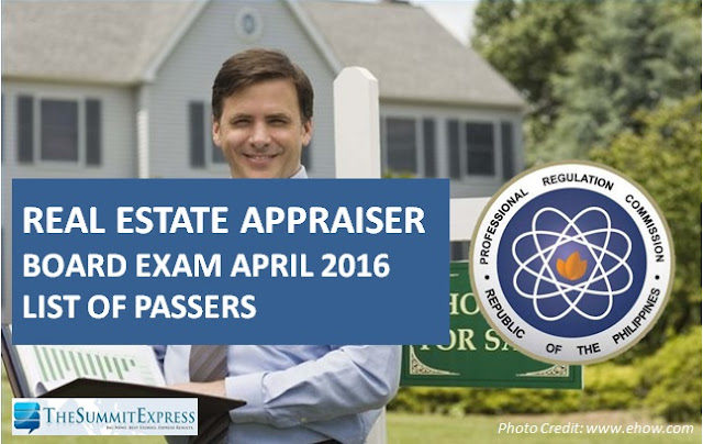 April 2016 Real Estate Appraiser board exam results