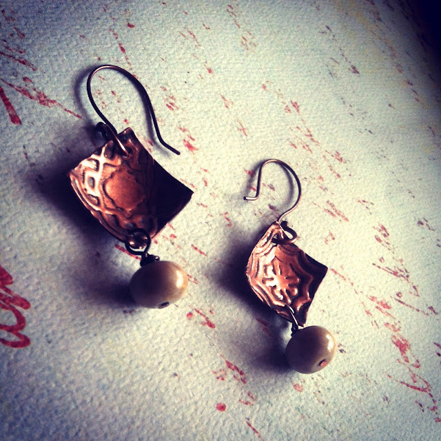 Copper Bead earrings with Texture