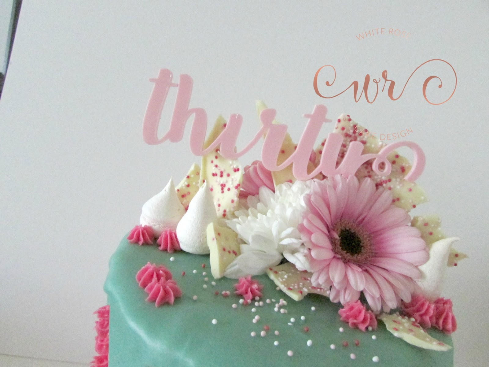 Wondrous Pink And Teal Drippy 30Th Birthday Cake White Rose Cake Design Funny Birthday Cards Online Inifodamsfinfo