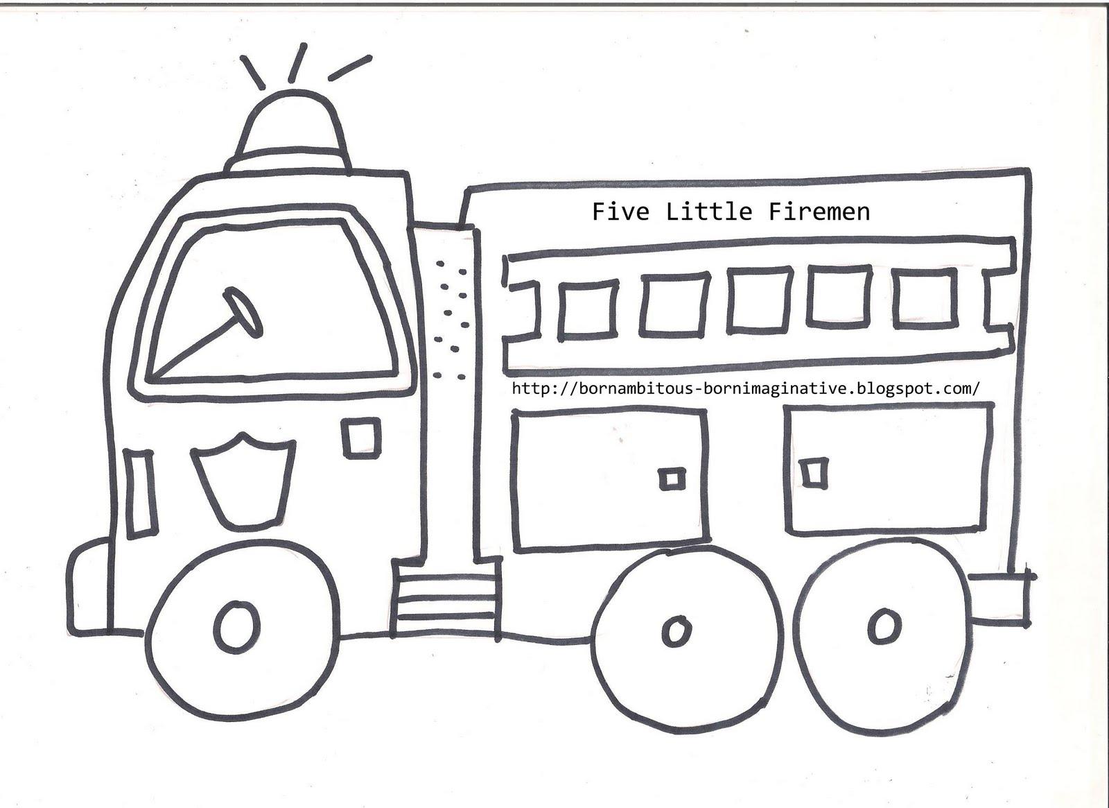 Born Imaginative Five Little Fireman Free Printable