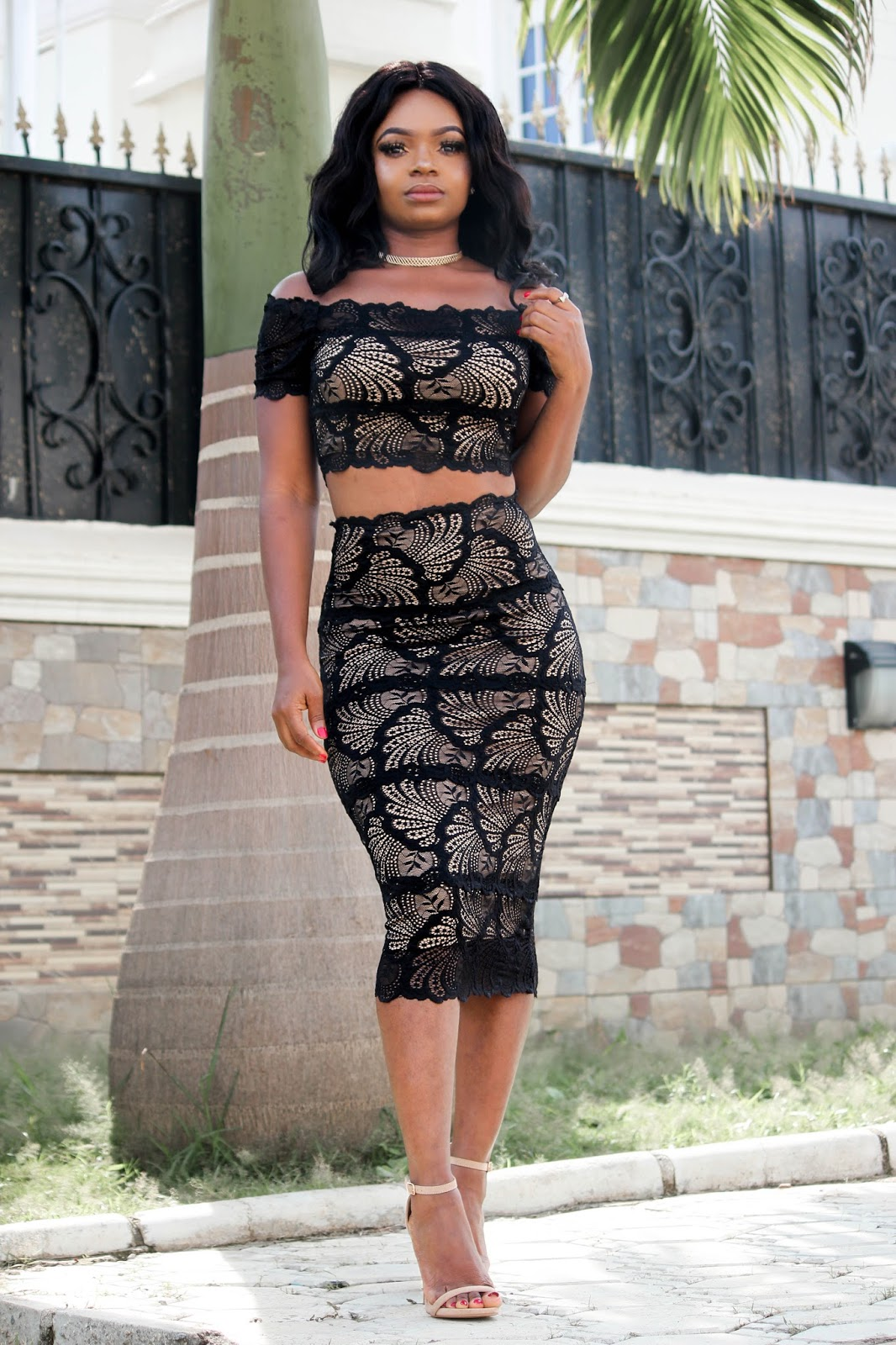 NUDE ILLUSION - Black Lace Nude Illusion Off Shoulder Two Piece Set