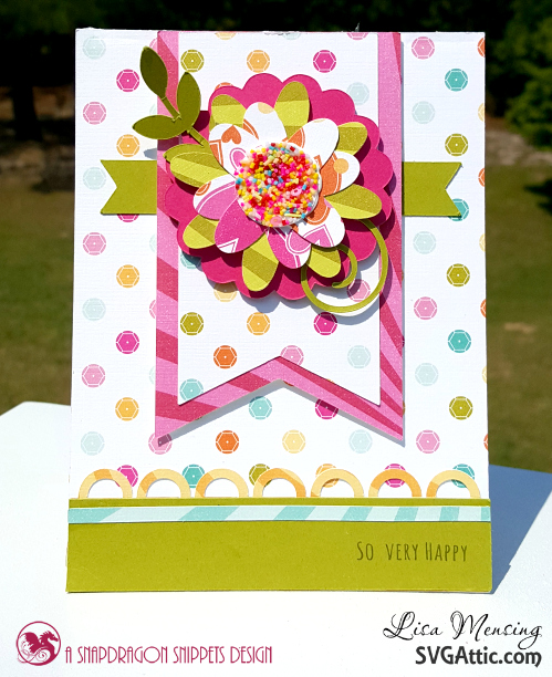 SVG Attic's JGW Beautiful Blooms Cards created in bright, bold colors with a touch of confetti.