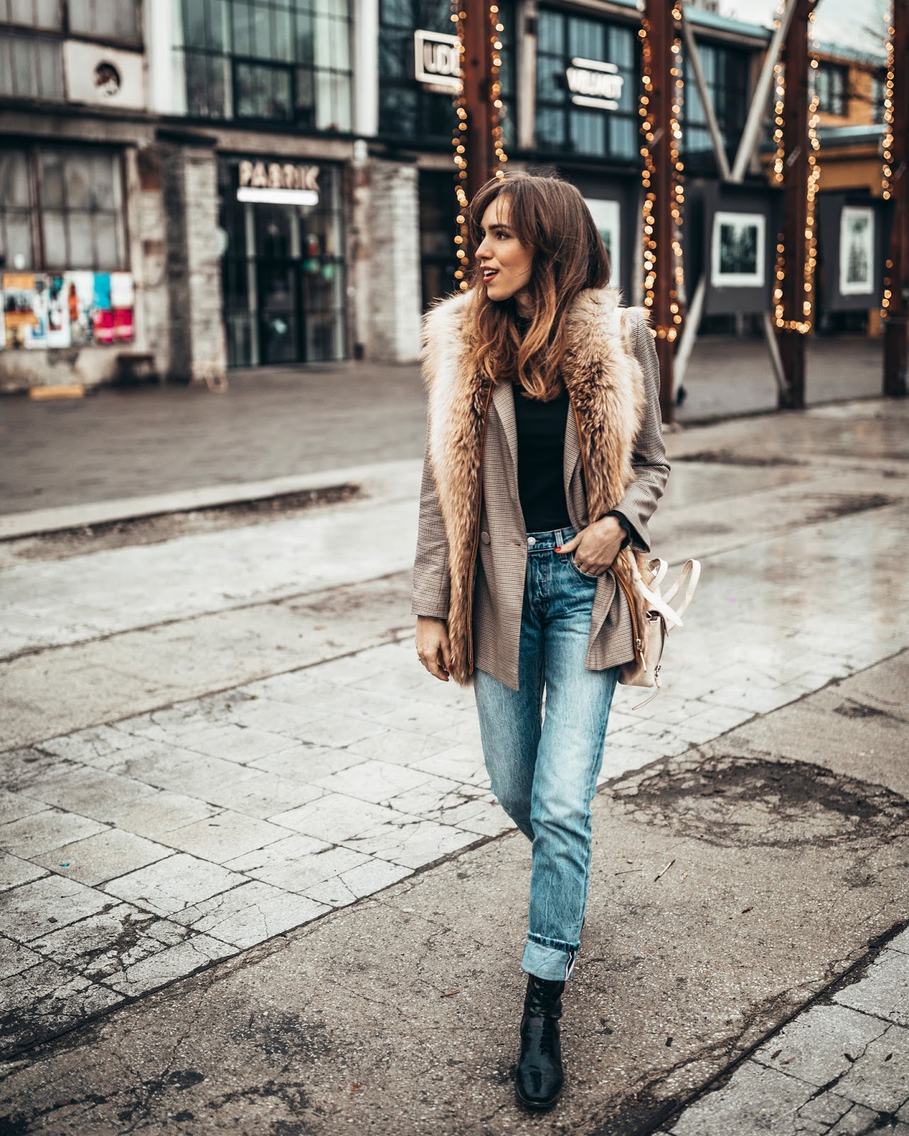 check blazer outfit winter