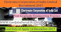 Electronics Corporation of India Limited Recruitment 2017- 76 Junior Artisan, Graduate Engineering Trainee