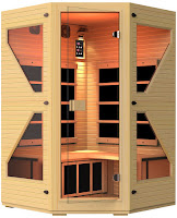 JNH Lifestyles NE4CHB1 ENSI 2 to 3 Person Corner NO EMF Infrared Sauna, made with dual wall 100% Canadian Hemlock wood, with 5 ZERO EMF carbon fiber FAR infrared heaters, T&G construction, tools-free design, special safety glass door