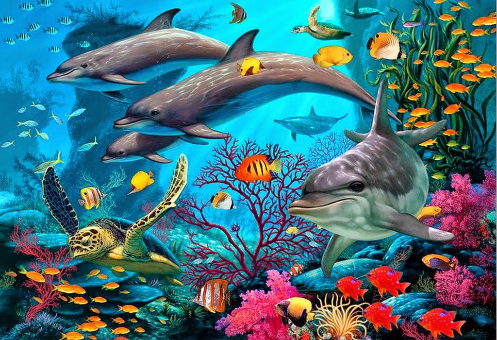 Cuadros modernos pinturas y dibujos paisajes submarinos - Cuadros con peces ...