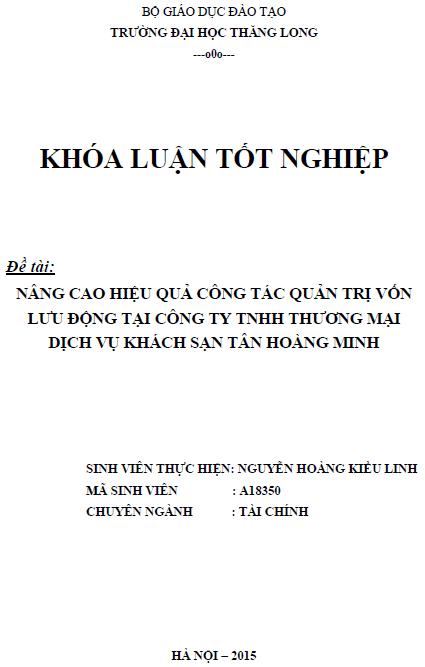 Nâng cao công tác quản trị vốn lưu động tại Công ty TNHH Thương mại Dịch vụ Khách sạn Tân Hoàng Minh