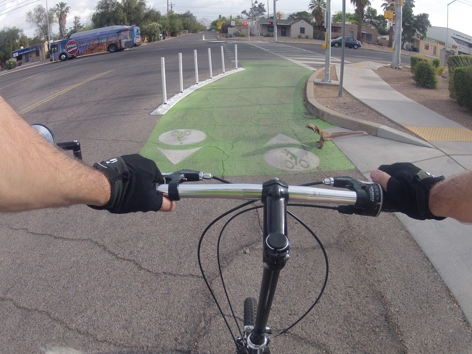 one some routes cyclists are channeled to use the cross walk to cross major roads