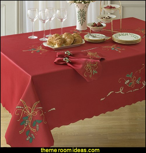 Red Holiday Embroidered Tablecloth