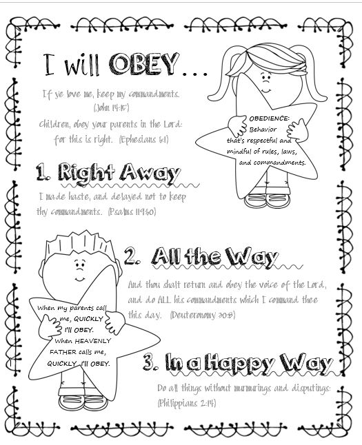 LDS ACTIVITY IDEAS: I Can Be Obedient (Coloring Page)
