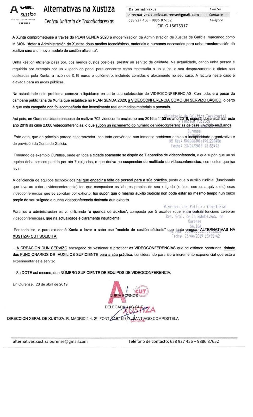 Calendario Laboral Ourense 2020.Axg Cut Solicita A Creacion Dun Servizo Para Videoconferencias En