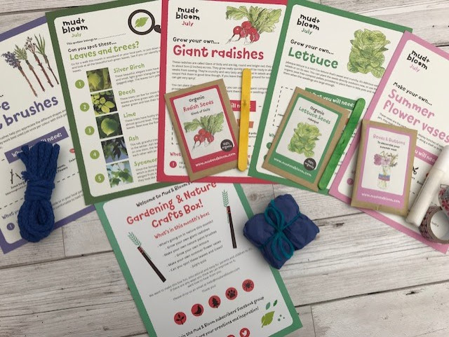 All the fact sheets laid out, nature brushes, summer vase instructions, planting guidance for radishes and lettuce, leaf and tree spotting sheet and craft box leaflet