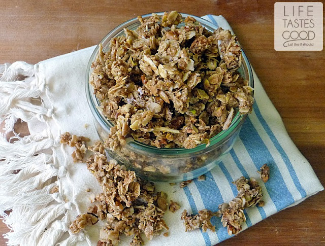 Nutty Granola Recipe | by Life Tastes Good is a healthy mixture of nuts and grains that makes a hearty start to your day, but is also a tasty snack on its own! #SundaySupper #BackToSchool